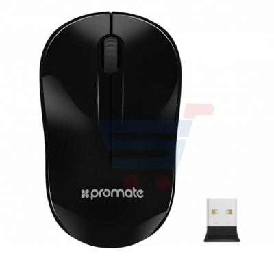 Promate 2.4 GHz Optical Wireless Mouse with Nano Bluetooth USB Receiver 15 Meter Working Range, CLIX-1.BLACK