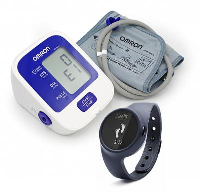 Combo Pack Buy Omron M2 Basic Automatic Blood pressure Monitor & Get Free iHealth Wireless Activity & Sleep Tracker