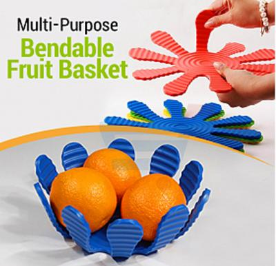 Silicon Coated Stainless Steel Bendable Multi-Purpose Coaster Pot Holder Fruit Basket Trivet - Blue