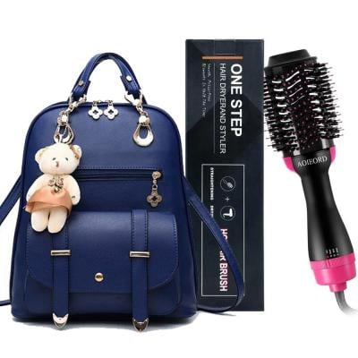 2 in 1 Vogue Star New Designer Women Backpack For Teens Girls-Blue with 3-In-1 One Step Hair Dryer Styler Pink/Black