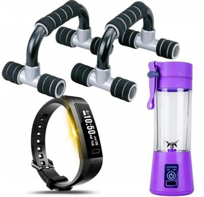 3 IN 1 Fitness Bundle, Push Up Bar B-920 With Portable And Rechargeable Battery Juice Blender - Scd1219-16902-9,Y13 Smart Band Fitness Tracker