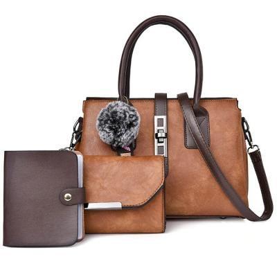 3 Pcs Women Hand Bag Set WB19-22 - Tan