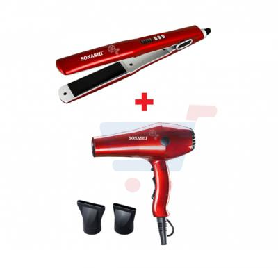 Bundle-Combo Offer Sonashi Hair Dryer Red SHD-3032 + Sonashi Hair Straightener Red SHS-2042