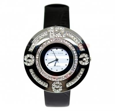 Charles Delon Ladies Watch Leather Band Black - 5258LD1