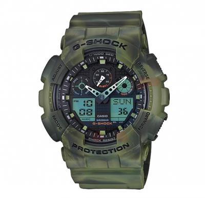 Casio G-Shock Analog /Digital Watch For Men, Green-GA-100MM-3ADR