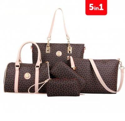 Generic PU Leather Women Handbag 5pcs Set,brown