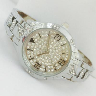 Catwalk Fashionable Cz Stone Covered Analog Stainless steel Gold Dial Watch for Women, CW1003