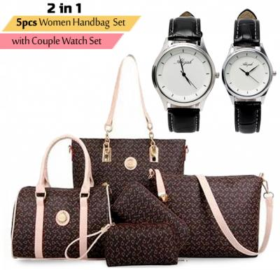 2 in 1 Offer, Generic PU Leather Women Handbag 5pcs Set brown with Couple Watch Set