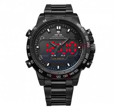 Weide Full Black Steel Dual Time Mens Wrist Watch - 6102