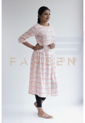 Ruky Fareen Long Top Full Sleeve Kurthees Cotton - RF 129 - M