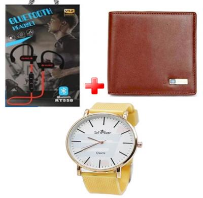 3 IN 1 MESN SMART COMBO Bluetooth Wallet+Bluetooth heaset+ Stylish Watch, RT558