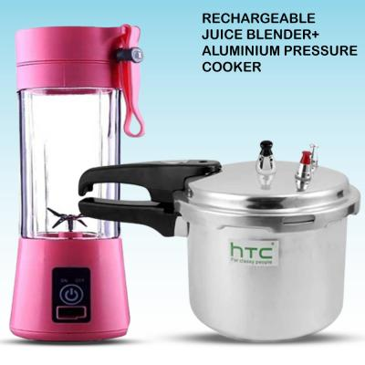 2 In 1 Portable And Rechargeable Battery 6 blade Juice Blender Assorted Color And HTC 3.5 Liter Aluminium Pressure Cooker HTC-305-PC