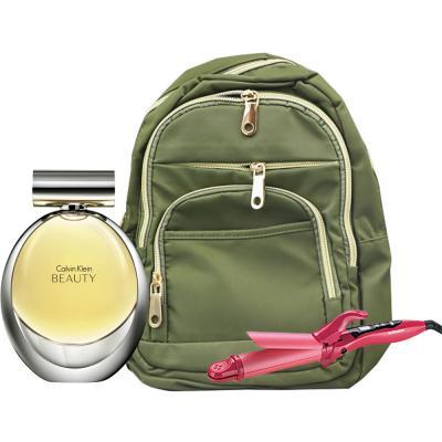 3 In 1 Calvin Klein Beauty EDP 100ml Spray For Women, Fashionable Backpack For Women, Green And Sonashi 2 in 1 Hair Curler & Straightener Pink SHC-3005