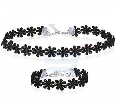 Flower Lace Choker and Bracelet Set Black