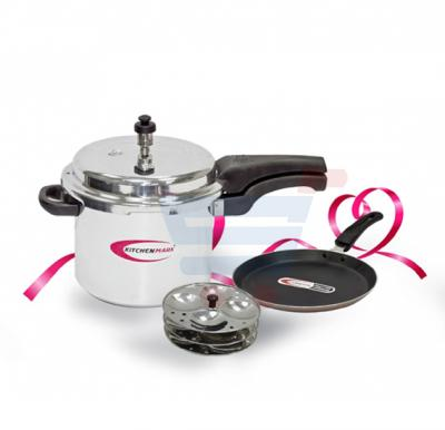 Bundle Offer Kitchenmark Pressure Cooker, 5 Litre + Tava Promo-6048 With Idly Set