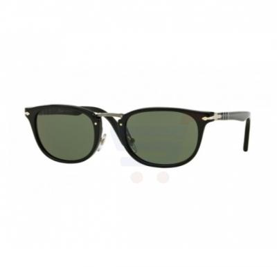 Persol Oval Black Frame & Green Mirrored Sunglasses For Unisex - 0PO3127S-95/31