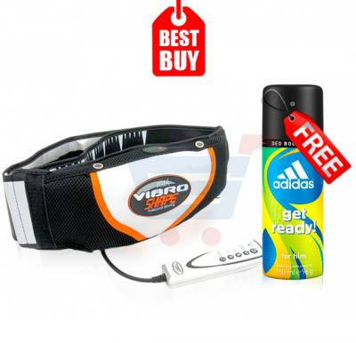Combo Offer! Vibro Shape Slimming Belt, With Heat & Get Adidas Get Ready 24hrs Perfume for Men,150ML FREE
