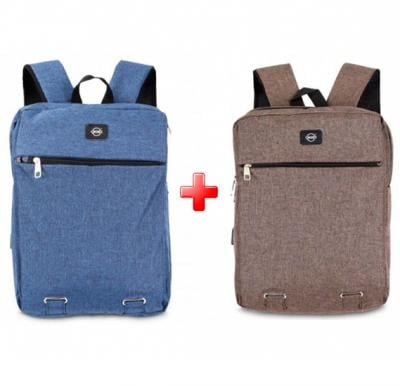 Set of 2 Pieces Okko Casual Backpack - 16 Inch, Coffee & Blue