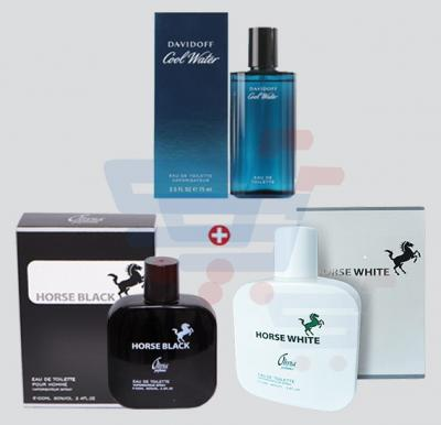 3 in 1 Bundle Offer! Davidoff Cool Water Perfume For Men 75 ml + Horse Black Perfume 100ml  + Horse White Perfume 100ml For Men