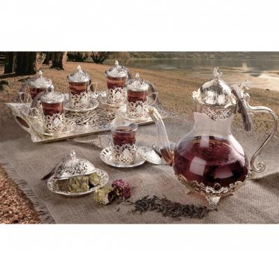 RoyalFord 22 Pcs Turkish Tea Set Silver - RF8364