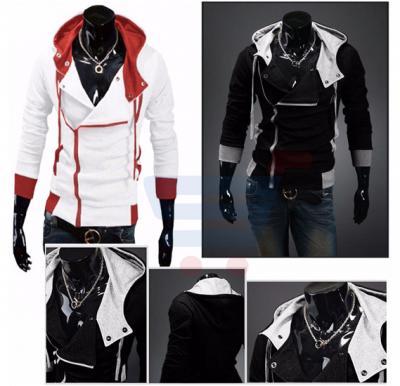 Mens Fashion Casual Slim Cardigan Assassin Creed Hoodies Black (Small) - 2461