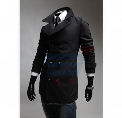 Mens High Neck Casual Coat Black (Small) - 1655
