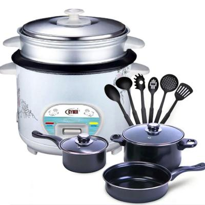 2 in 1 Bundle Pack Royalmark 13 Pcs Cookware Set With Kitchen Tool Set Black, RMCW-9713 with Cyber Multi-Functional Automatic Rice Cooker 1.6 Liter CYRC-7173 White
