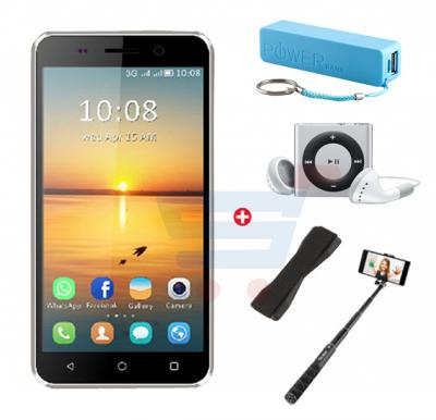 Bundle Offer Enes G3 3G Smartphone, 4.0 Inch Display, 1GB RAM, 8GB Storage, MP3 Player, Power Bank, Selfie Stick & Mobile Grip - Gold