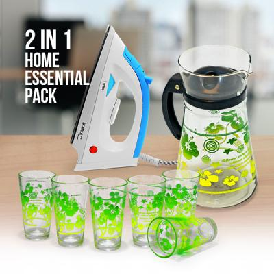 2 In 1 Home Essential Pack of Glass set with Steam Iron Box