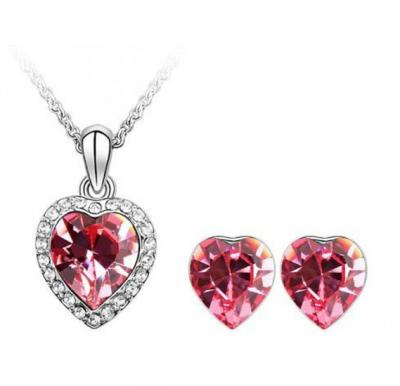 7f5aff0e02 Swarovski Elements 18K White Gold Plated Jewelry Set Encrusted With Dark  Fuschia Swarovski Crystals and Matching Earrings, SWR-795