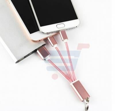 Multi Color 2 In 1 Keychain Nylon Line USB Cable, Lightning For Android