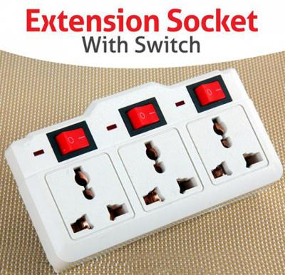 ZE 3 Way Extension Socket Plug With Switch with Led indicator