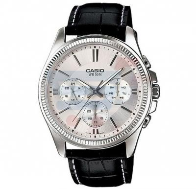 Casio Analog Watch For Men, Black Leather Strap With White Dial-MTP-1375L-7A