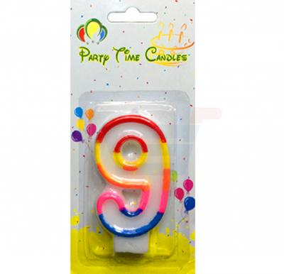 Party Time Number Candle Small 9 M028