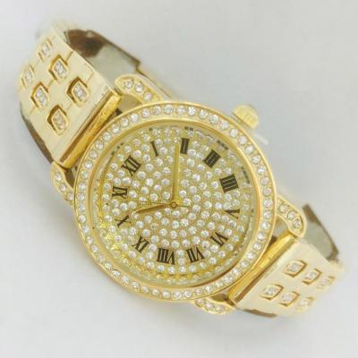 Catwalk Fashionable Cz Stone Covered Analog Stainless steel Gold Dial Watch for Women, CW1004