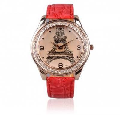 Cindiry Women Casual Fashion Eiffel Tower Diamond Watch-Red