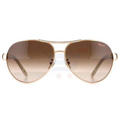 Chopard Oval Copper Gold Frame & Brown Sunglass Mirrored For Women - SCHA59S-8FCX
