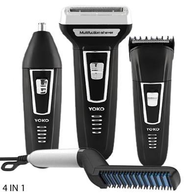 4 In 1 Beard Straightening Comb Black White And Yoko 3 in 1 YK-6558 Dry For Men Clipper & Trimmer