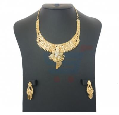 Harsha Arts 22K Gold Plated Flower Design Necklace Set- HR 1127