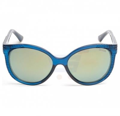 Guess Rectangular Dark Teal Frame & Green Mirrored Sunglasses For Woman - GU7402-89Q