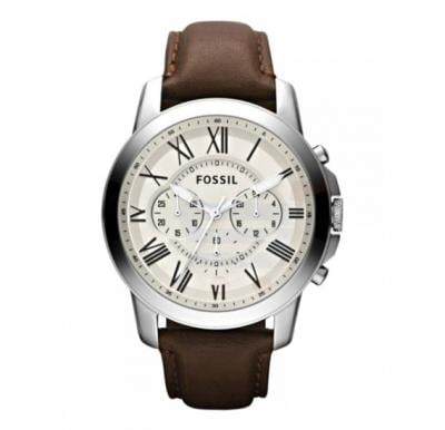 Fossil Analog Leather Band Grant Watch For Men - FS4735