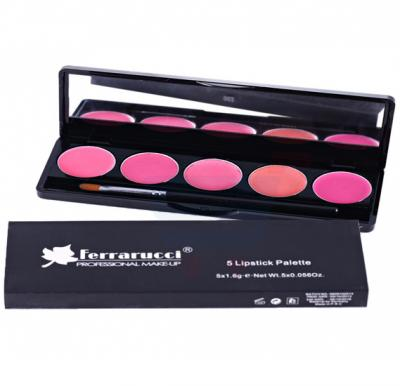 Ferrarucci 5 Lipstick Pallet with Brush, Multi Color