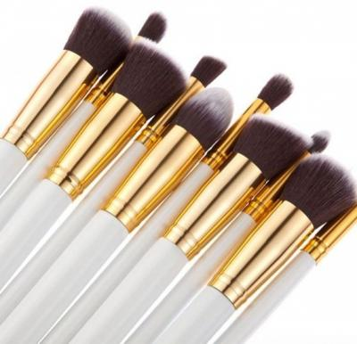 10 pcs cosmetic makeup beauty brushes tool set kit brush with leather case poush -White gold