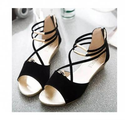 2019 Summer New Flat Sandals For Women Black , Size-38