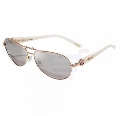 Chopard Oval Copper Gold Frame & Brown Mirrored Sunglasses For Women - SCH997S-8FCX