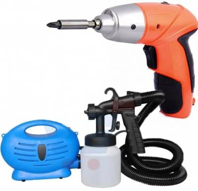 2 in 1 bundle of 45Pcs Cordless Screwdriver and Paint Zoom Professional Paint Sprayer