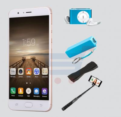 Bundle Offer W&O M1 4G Smart phone, 5.5 Inch HD  Display, 2GB RAM, 32GB Storage, Get MP3 Player, Power Bank, Selfie Stick And Mobile Grip Free - Gold