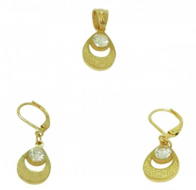 Elissa Jewelry 22K Gold Plated Ladies Fancy Stone Earrings Set, EY024