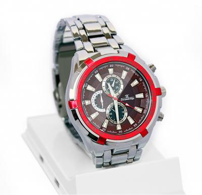 Decambridge Analog Watch For Men Silver Red - 1008B