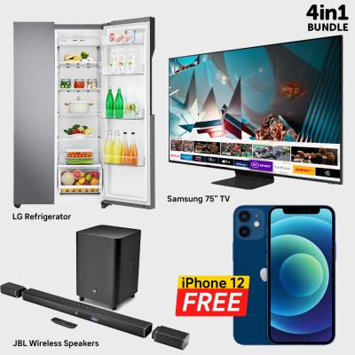 4 in 1 Home Appliances Bundle LG GR B257KQDV Side By Side Refrigerator, Samsung 75-Inch 8K UHD Smart QLED TV QA75Q800T, JBL Wireless Dolby Atmos Speakers BAR 9.1 With Apple iPhone 12, 128GB Storage, 5G, Blue With FaceTime Free